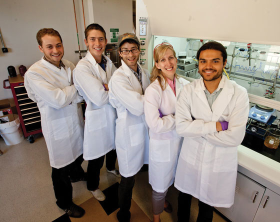 Left to right: Dionne lab members Jonathan Scholl, Justin Briggs, Sassan Sheikholeslami, Professor Jen Dionne, and Ashwin Atre