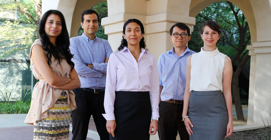 Left to right: Professors Anima Anandkumar, Alireza Marandi, Azita Emami, Changhuei Yang, and Katie Bouman
