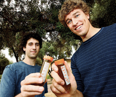 Undergraduates Dvin Adalian and Ricky Jones on the Olive Walk.