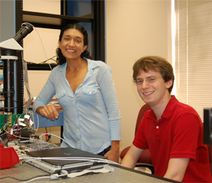 Professor Azita Emami-Neyestanak and undergraduate student Jeff Sherman