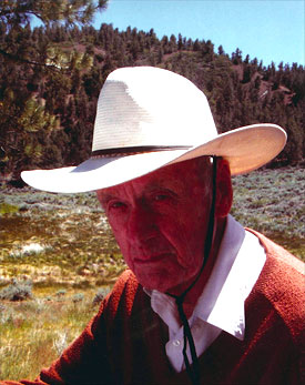 Francis Clauser wearing cowboy hat