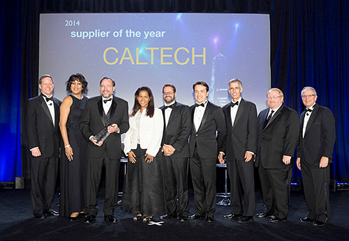 From left to right:  Kent Fisher (Boeing); Joan Robinson-Berry (Boeing); Joe Shepherd (Caltech); Karina Edmonds (Caltech); John Kastanas (Caltech); Frederic Farina (Caltech); John Tracy (Boeing CTO); Jack House (Boeing); Paul Pasquier (Boeing)