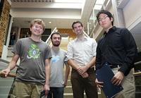 From left to right: Bhansali Prize Winner Nicholas Schiefer, Bhansali Prize Winner William Hoza, Professor Adam Wierman, Bhansali Prize Winner Bryan He