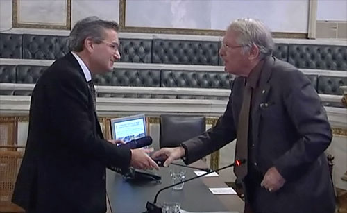 Professor Rosakis is welcomed into the Academy of Athens by its President Dimitrios Nanopoulos