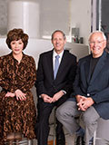 Lynda Resnick, President Thomas F. Rosenbaum, Stewart Resnick (left to right)