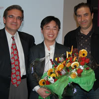 "Chair Ares Rosakis, Wendian ""Leo"" Shi, and Professor Babak Hassibi"