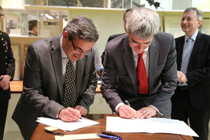 Guggenheim Building - Theodore von Kármán Conference Room and Archives - Signing Ceremony. Professor Ares Rosakis and Professor Patrick Le Tallec.
