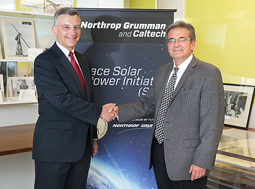 Northrop Grumman's Joseph Ensor (left) and Caltech's Ares Rosakis (right) shake hands as part of the recent SSPI commemoration event held at Caltech.