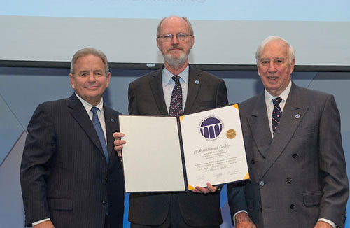 From left to right: Charles O. Holliday, Jr., Robert Grubbs, and C. D. Mote, Jr. (photo by Cable Risdon for NAE)