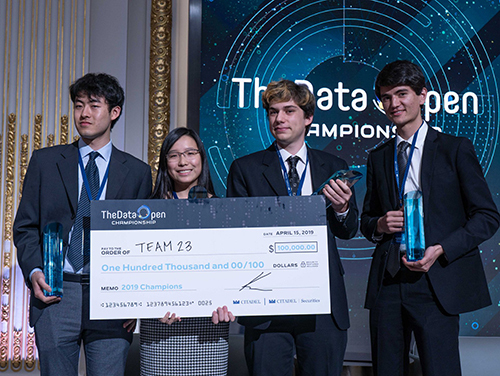 Winning Caltech team.  From left to right Hongsen Qin, Emma Qian, Thomas Hoffmann, and Alexander Zlokapa