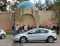Students lined up to test drive the Chevy Volt