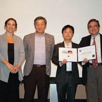 "Susan Morse (Lemelson Foundation), Professor Yu-Chong Tai, Wendian ""Leo"" Shi, and Chair Ares Rosakis"