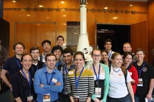 Team Explorer at JPL in front of the Explorer mission spare.