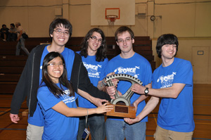 The winning team with the ME-72 trophy.