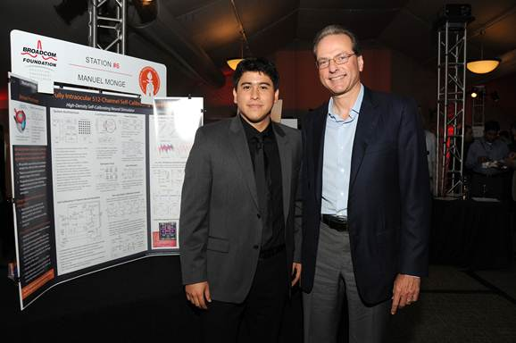 Third place winner Manuel Monge with Broadcom co-founder and CTO Dr. Henry Samueli at the Broadcom University Research Competition.