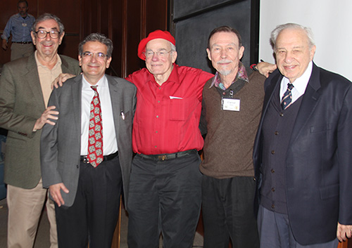 From left to right: Professors Harry Gray, Ares Rosakis, William Goddard III, Carver Mead, and Rudolph Marcus.